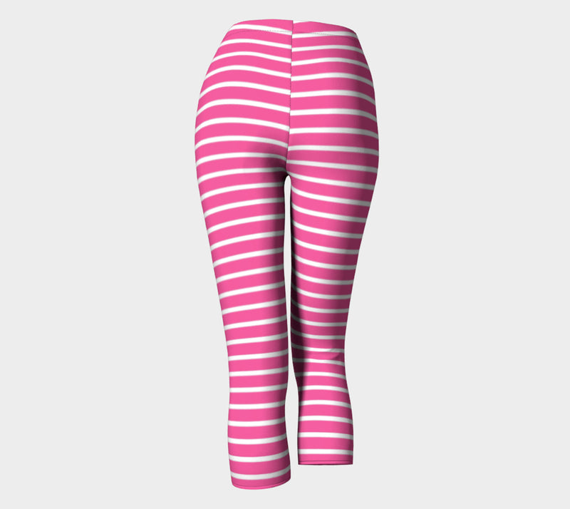 Striped Adult Capris - White on Pink