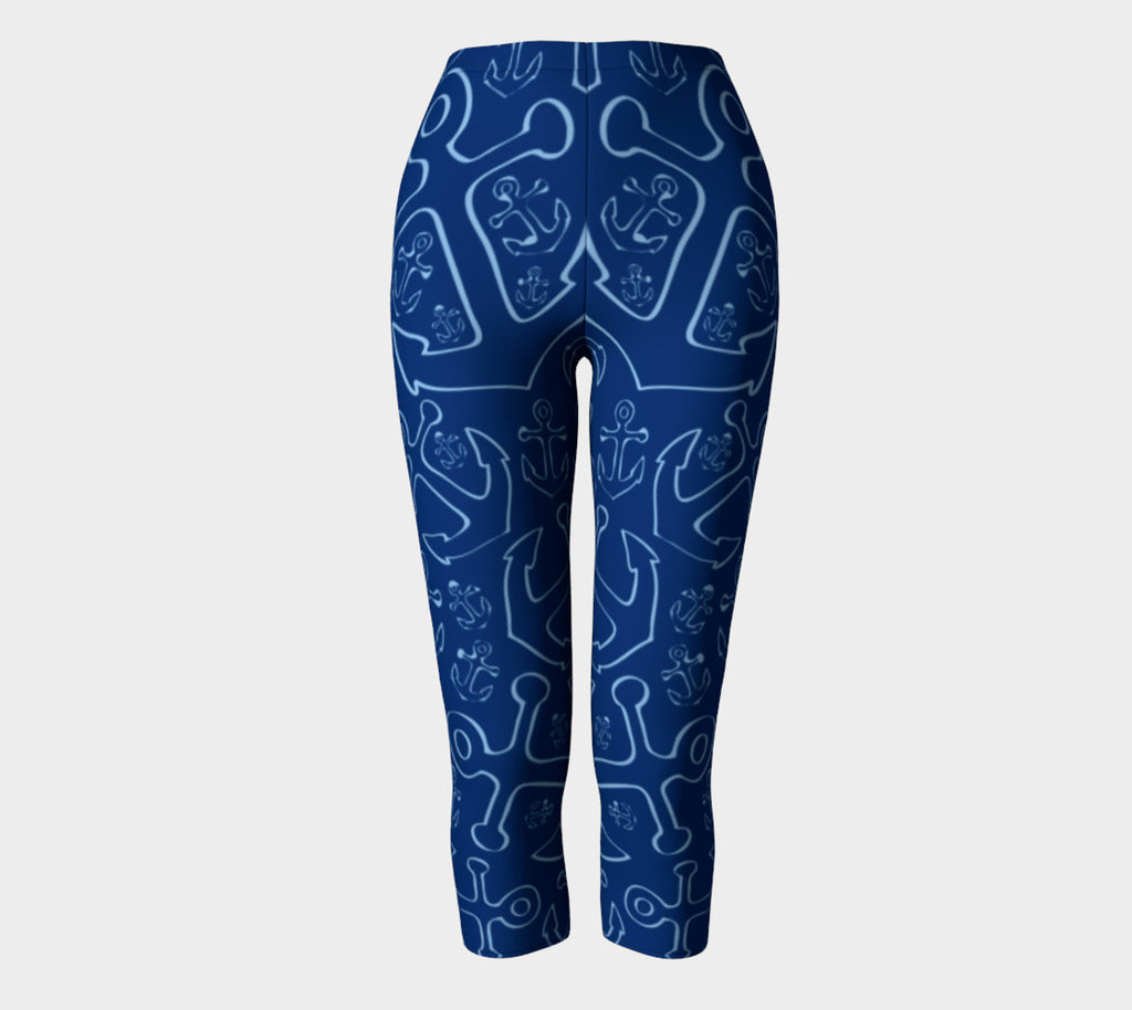 Anchor Dream Adult Capris - Blue on Navy - SummerTies