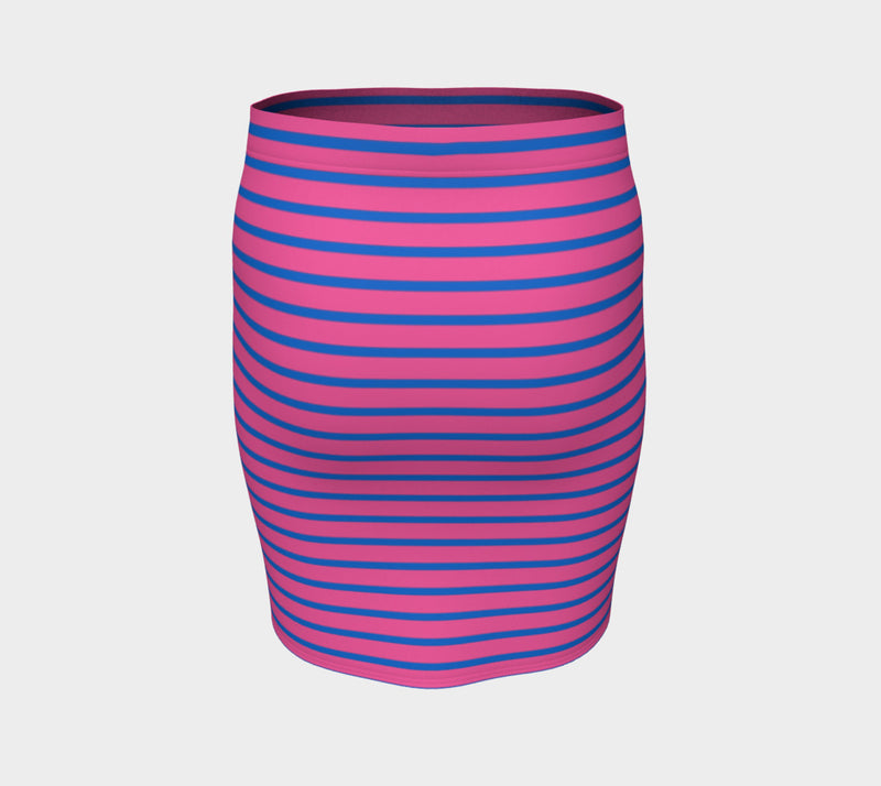Striped Fitted Skirt - Blue on Pink - SummerTies
