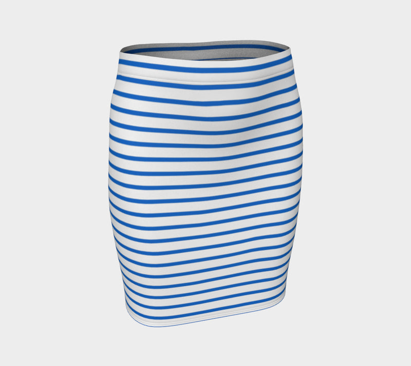 Striped Fitted Skirt - Blue on White - SummerTies