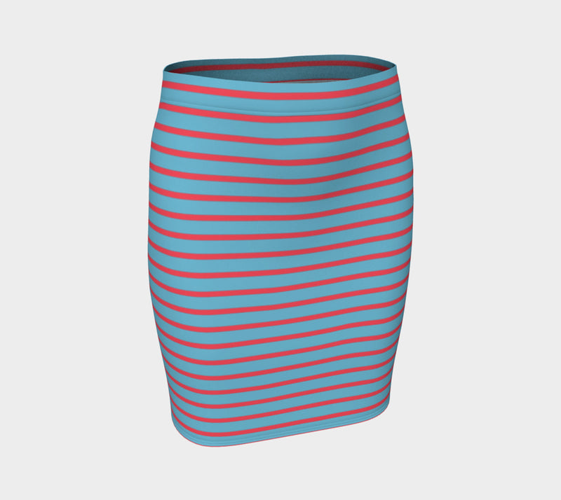 Striped Fitted Skirt - Darker Coral on Light Blue - SummerTies