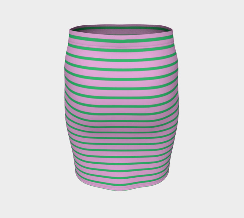 Striped Fitted Skirt - Green on Light Pink - SummerTies