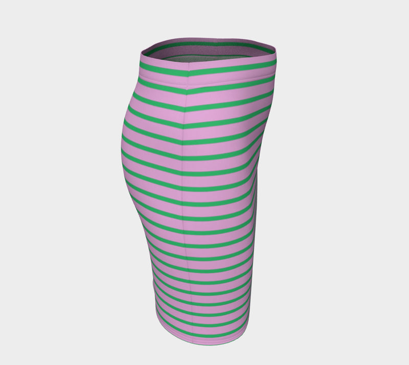 Striped Fitted Skirt - Green on Light Pink