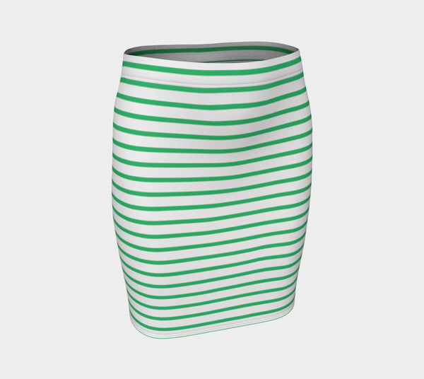 Striped Fitted Skirt - Green on White