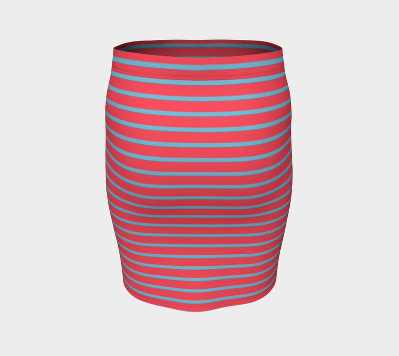 Striped Fitted Skirt - Light Blue on Darker Coral - SummerTies