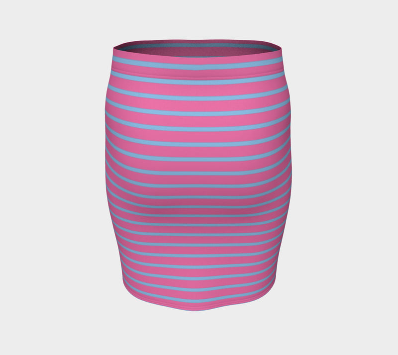 Striped Fitted Skirt - Light Blue on Pink - SummerTies
