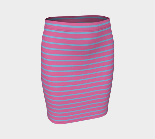 Striped Fitted Skirt - Light Blue on Pink