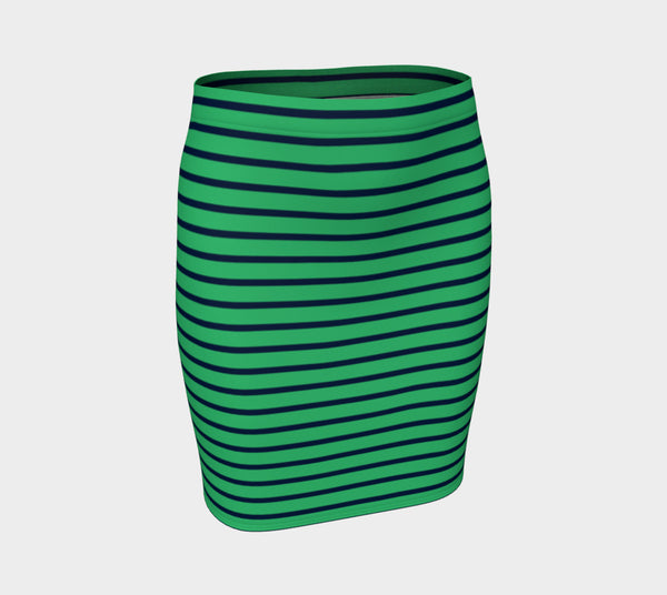 Striped Fitted Skirt - Navy on Green