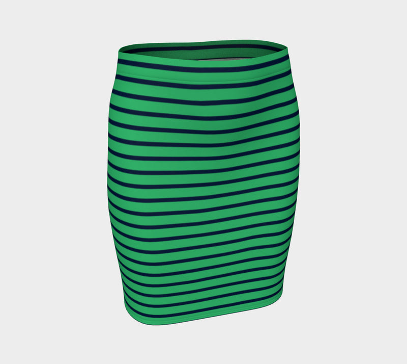Striped Fitted Skirt - Navy on Green - SummerTies