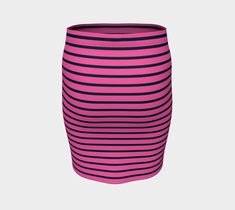 Striped Fitted Skirt - Navy on Pink