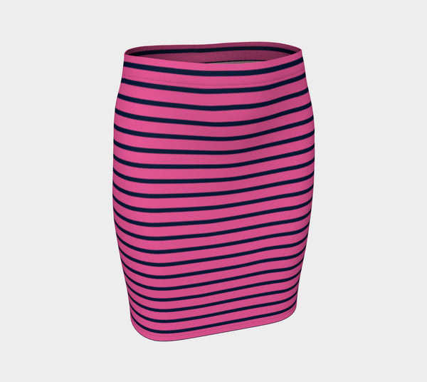 Striped Fitted Skirt - Navy on Pink - SummerTies