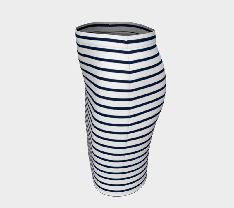 Striped Fitted Skirt - Navy on White - SummerTies