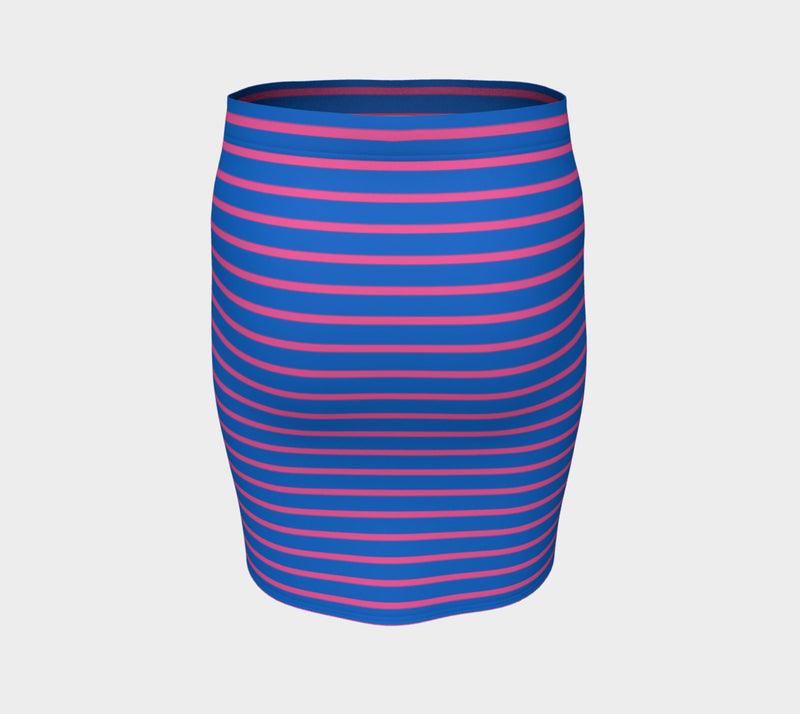 Striped Fitted Skirt - Pink on Blue - SummerTies