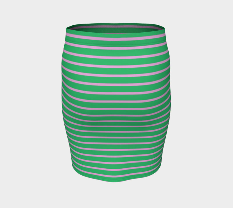 Striped Fitted Skirt - Light Pink on Green