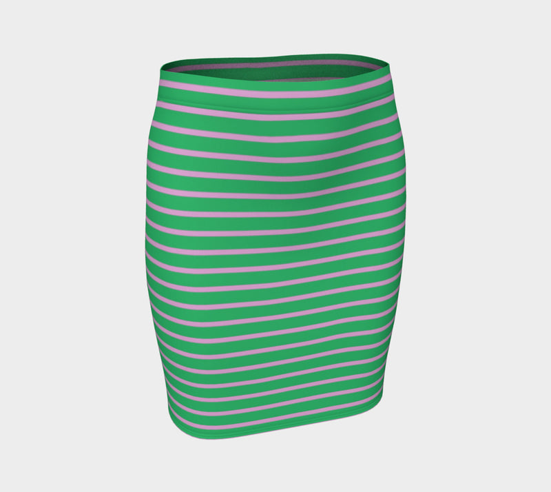 Striped Fitted Skirt - Light Pink on Green - SummerTies