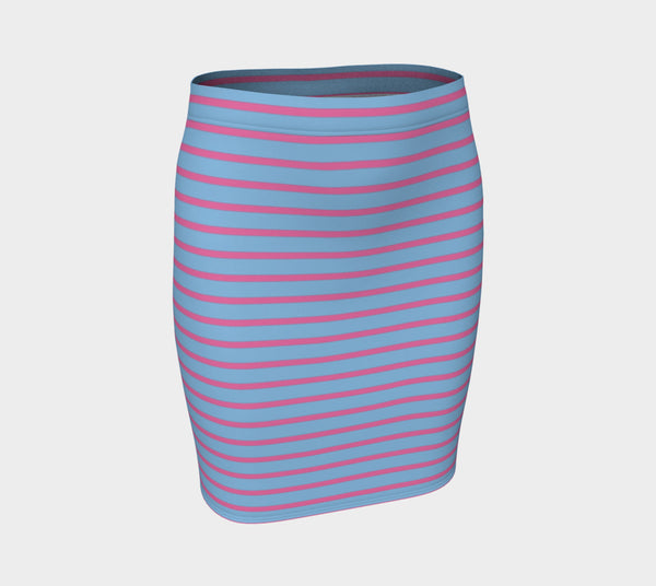 Striped Fitted Skirt - Pink on Light Blue - SummerTies