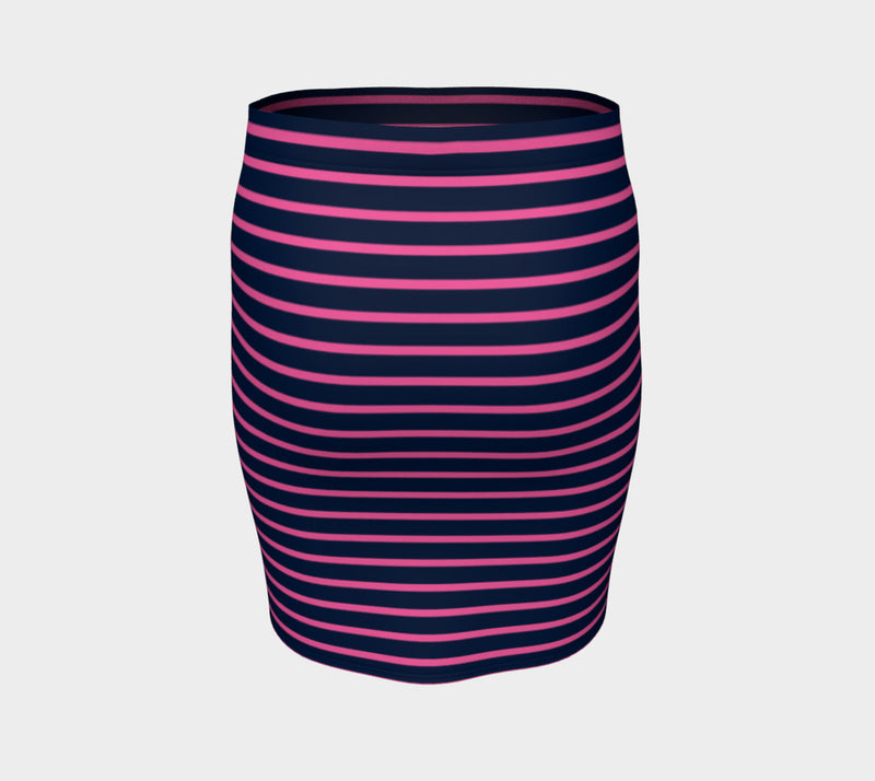 Striped Fitted Skirt - Pink on Navy - SummerTies