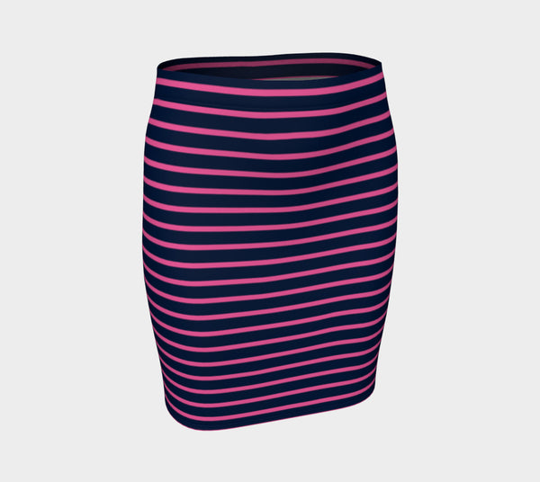 Striped Fitted Skirt - Pink on Navy