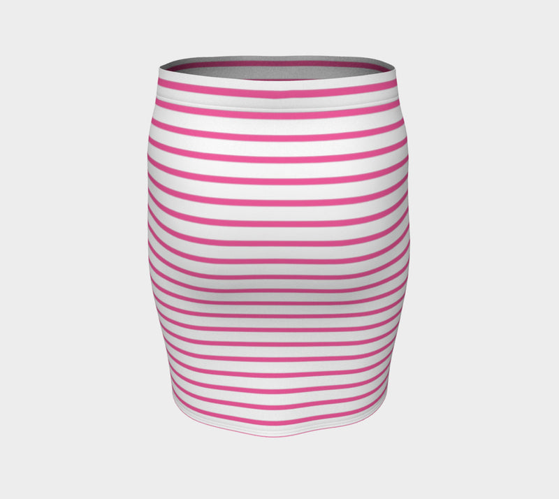 Striped Fitted Skirt - Pink on White - SummerTies