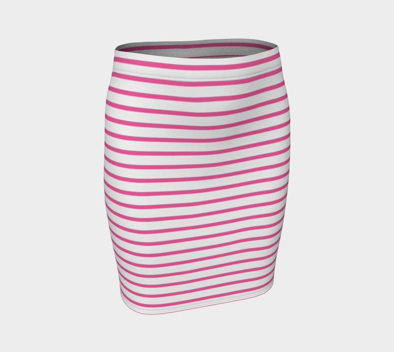 Striped Fitted Skirt - Pink on White