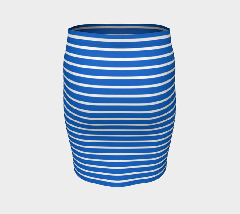 Striped Fitted Skirt - White on Blue