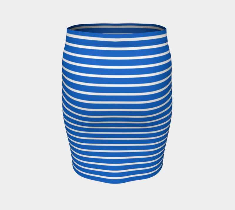 Striped Fitted Skirt - White on Blue - SummerTies
