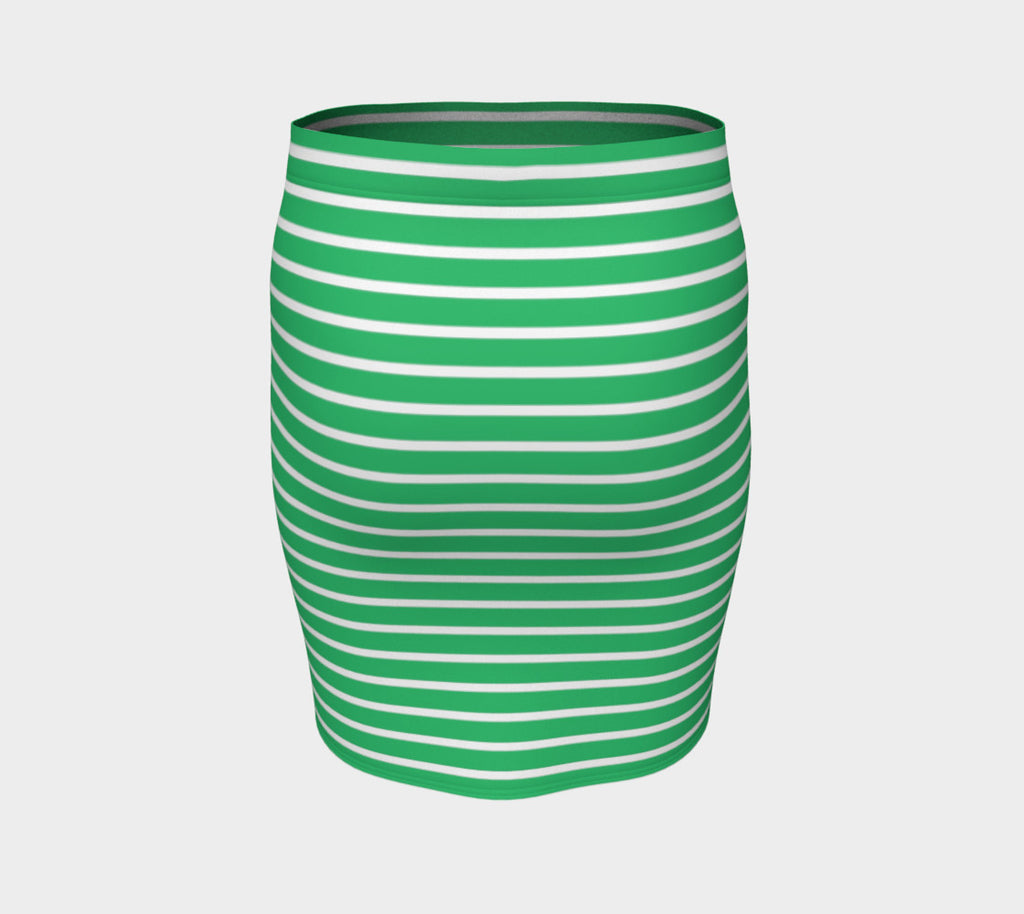 Striped Fitted Skirt - White on Green