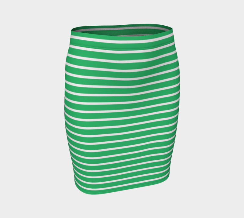 Striped Fitted Skirt - White on Green - SummerTies