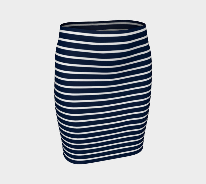 Striped Fitted Skirt - White on Navy
