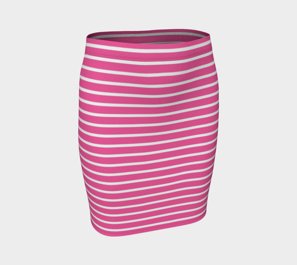 Striped Fitted Skirt - White on Pink