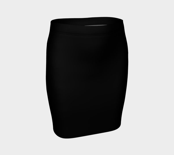 Solid Fitted Skirt - Black - SummerTies