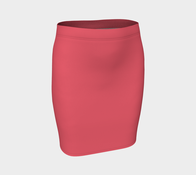 Solid Fitted Skirt - Coral