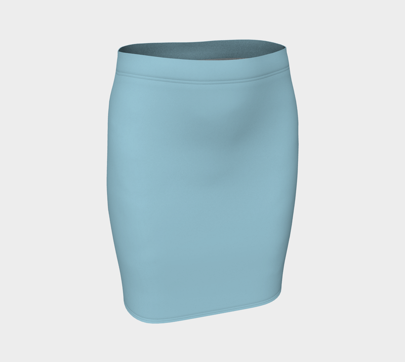 Solid Fitted Skirt - Light Blue - SummerTies
