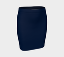 Solid Fitted Skirt - Navy