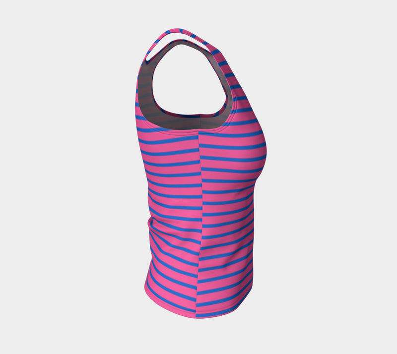 Striped Fitted Tank Top - Blue on Pink