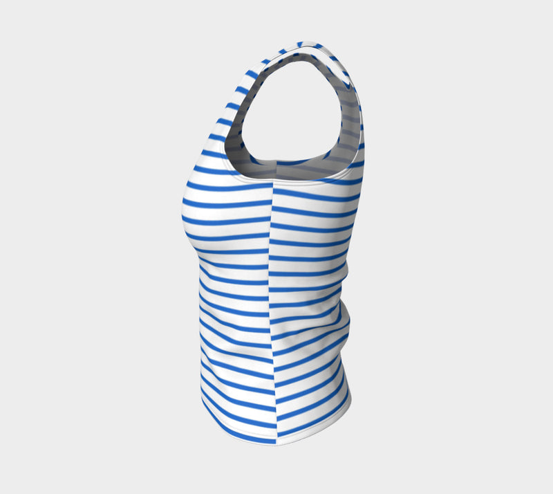 Striped Fitted Tank Top - Blue on White