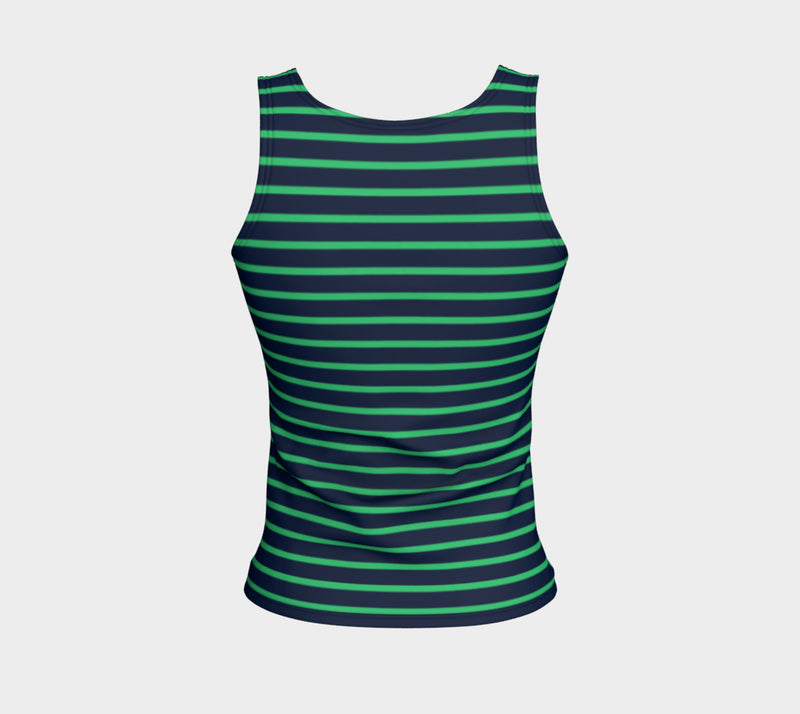 Striped Fitted Tank Top - Green on Navy