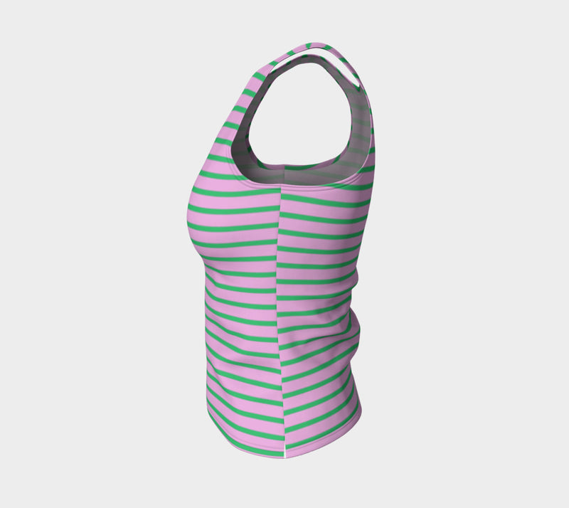Striped Fitted Tank Top - Green on Light Pink - SummerTies