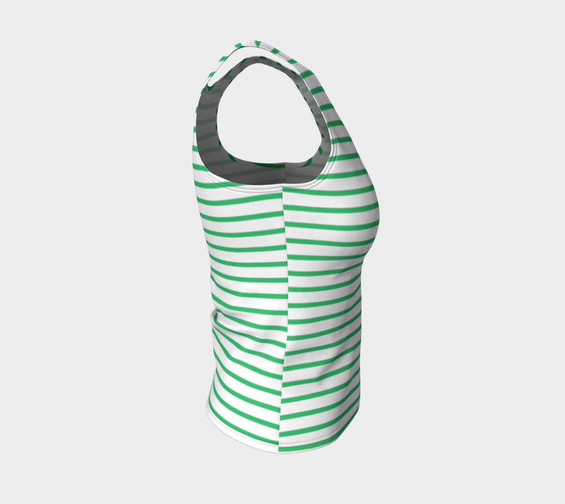 Striped Fitted Tank Top - Green on White - SummerTies