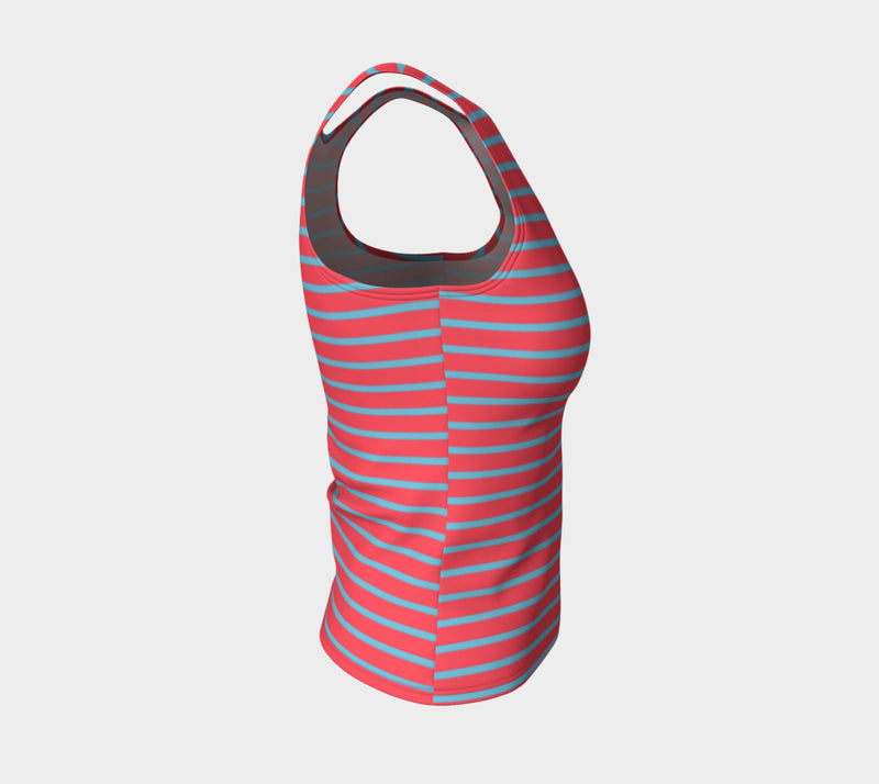 Striped Fitted Tank Top - Light Blue on Darker Coral