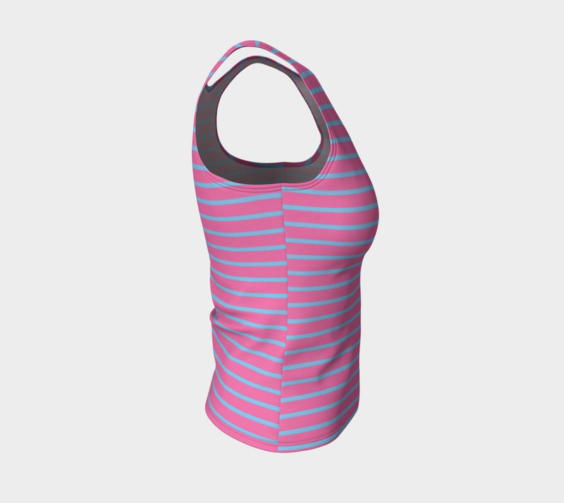 Striped Fitted Tank Top - Light Blue on Pink