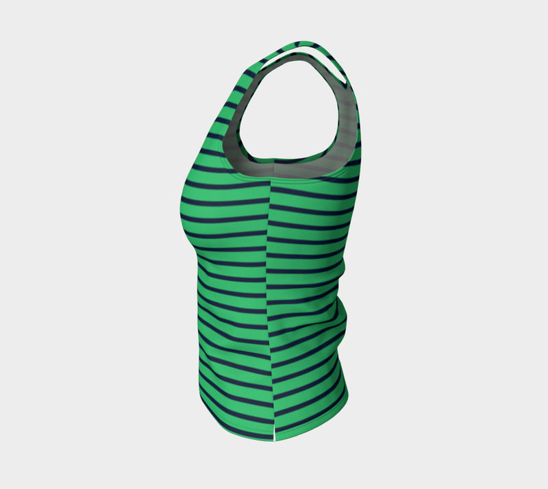 Striped Fitted Tank Top - Navy on Green - SummerTies