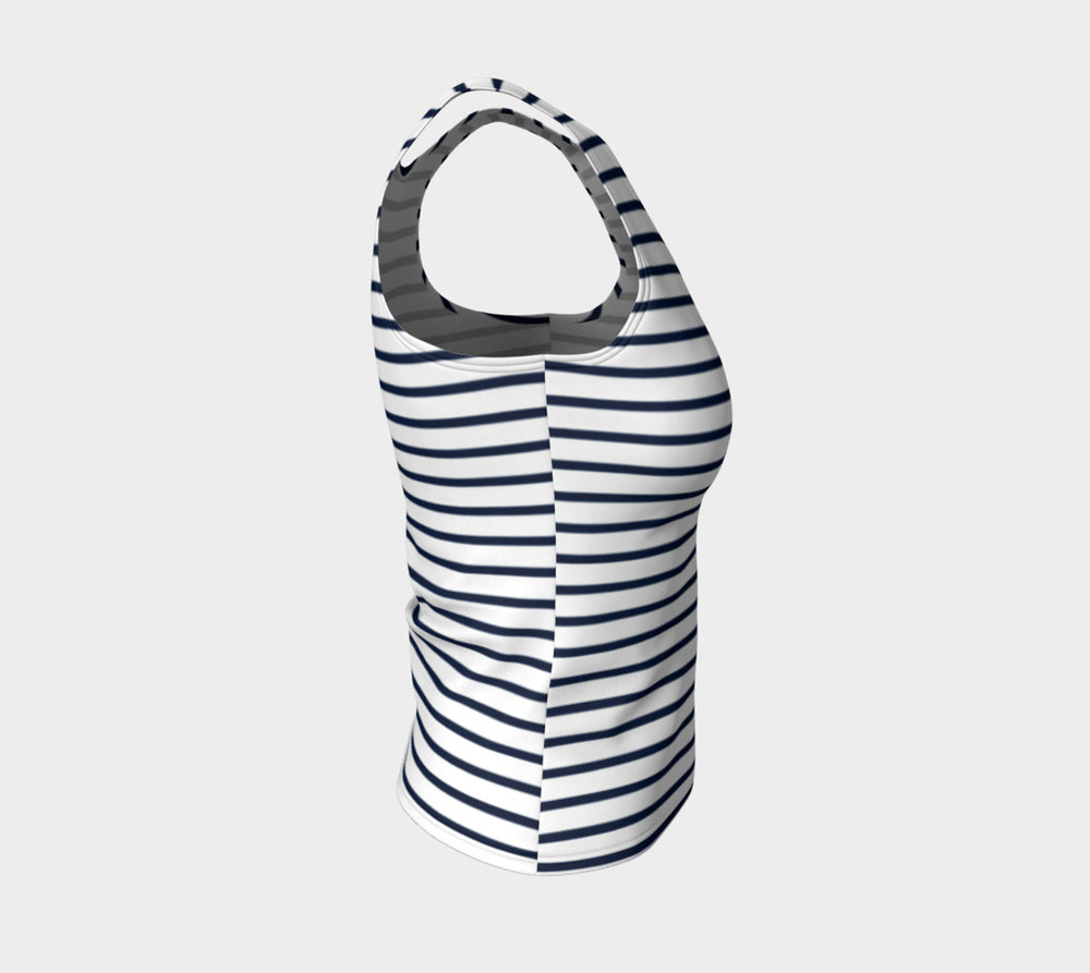 Striped Fitted Tank Top - Navy on White