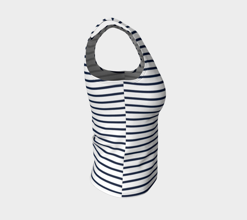 Striped Fitted Tank Top - Navy on White - SummerTies