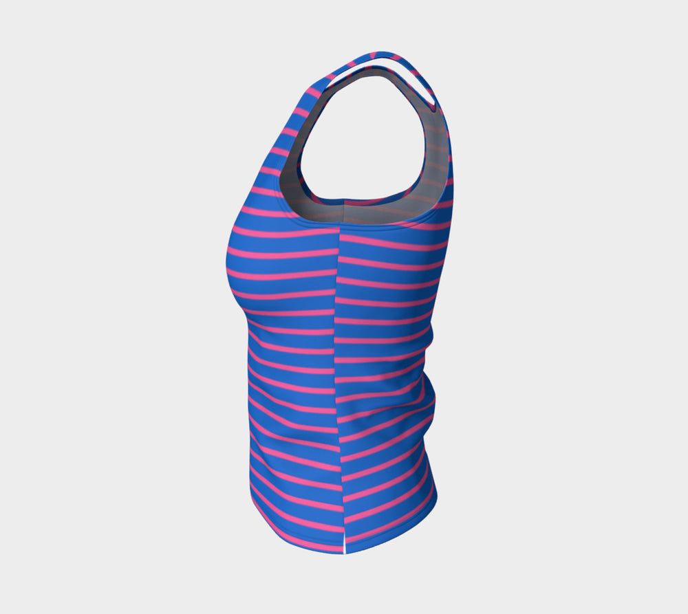 Striped Fitted Tank Top - Pink on Blue