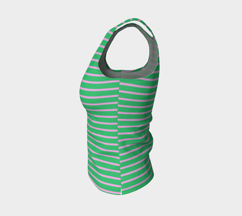 Striped Fitted Tank Top - Light Pink on Green