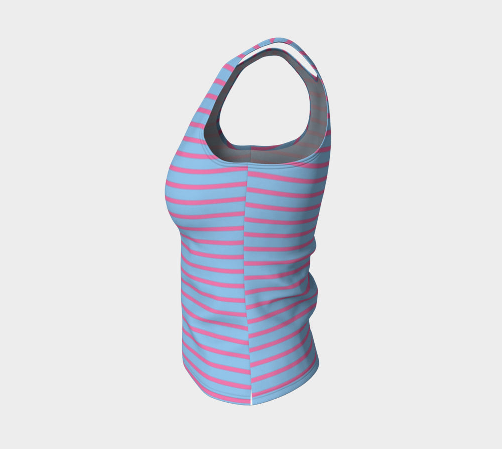 Striped Fitted Tank Top - Pink on Light Blue