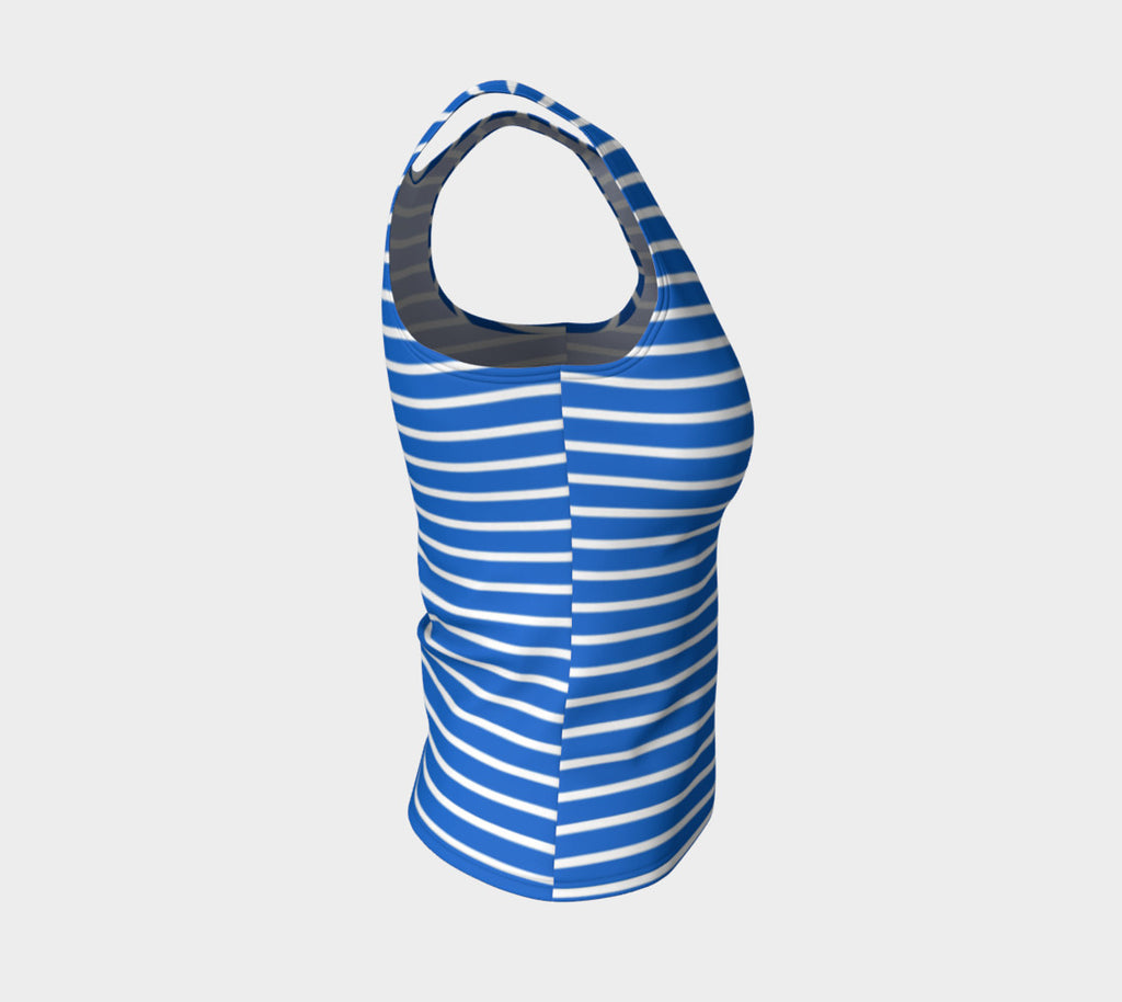 Striped Fitted Tank Top - White on Blue