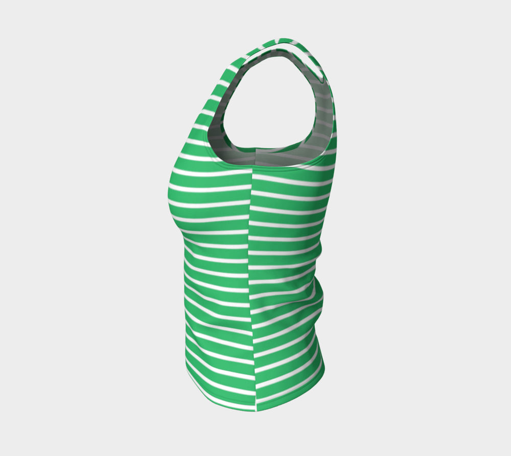 Striped Fitted Tank Top - White on Green