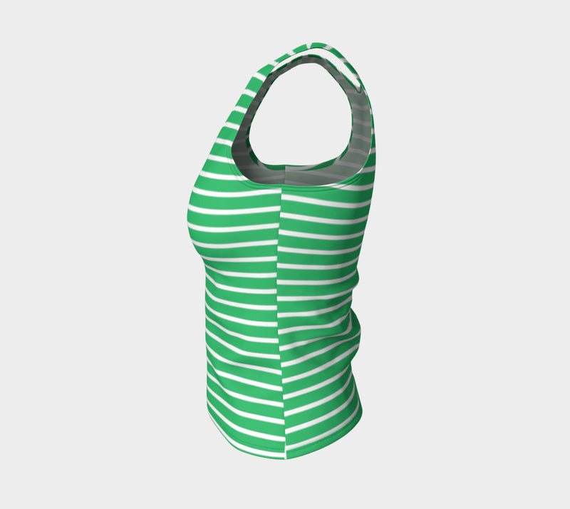 Striped Fitted Tank Top - White on Green - SummerTies